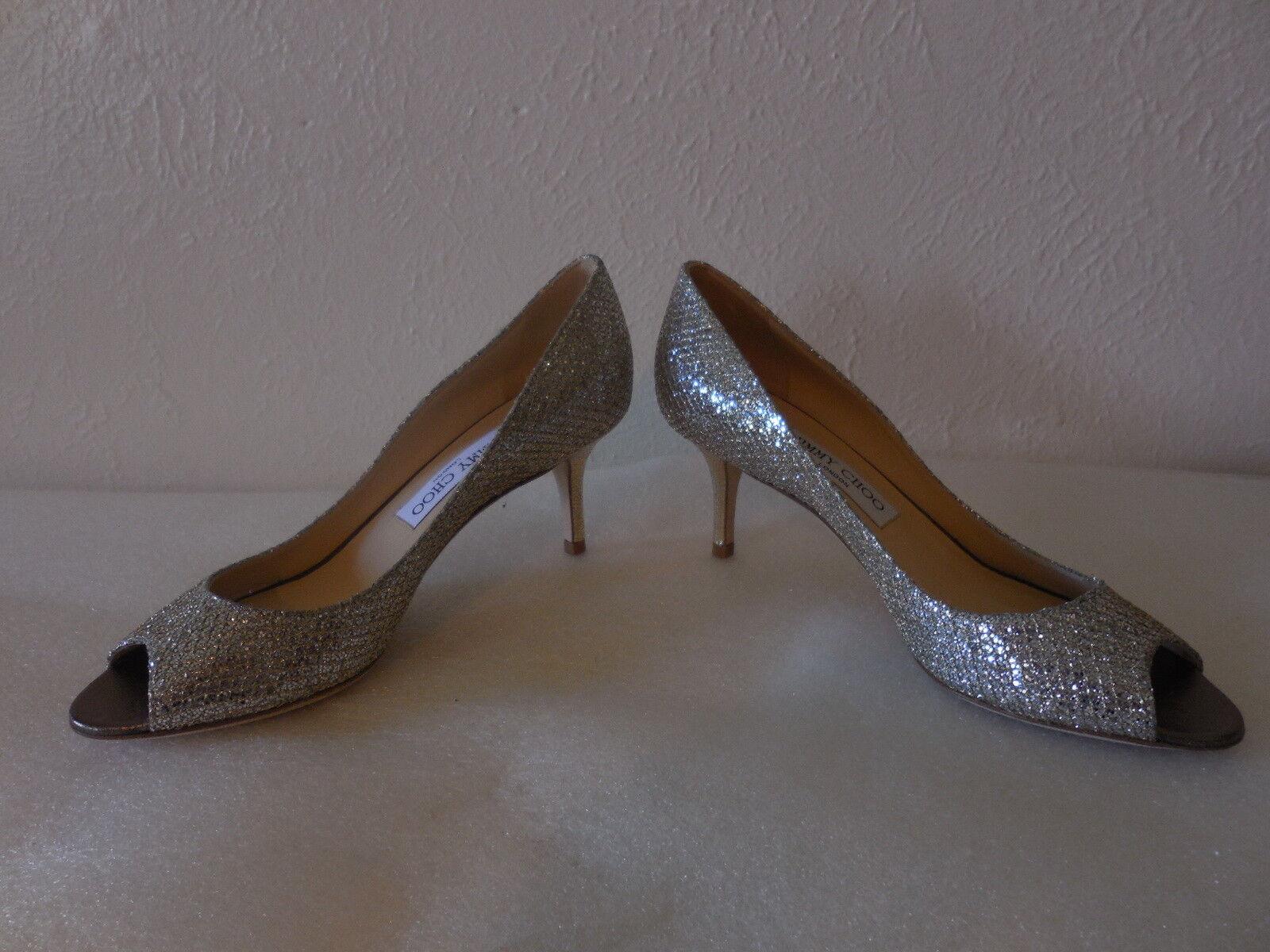 $595 NEW Sz. 6.5 Fabric Jimmy Choo ISABEL Champagne Glitter Fabric 6.5 Open Toe Pump schuhe caa9f0