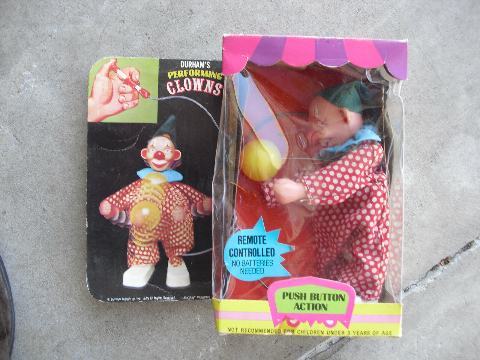 Vintage 1975 Durham Performing Clown Push Button Action Remote in Box