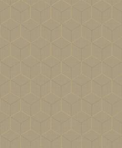 Tapete-Designtapete-VLIES-Praegung-ziseliert-Glanz-Nougat-Braungold-Grau