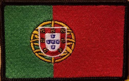 PORTUGAL Flag Patch With VELCRO Brand Fastener Tactical Emblem Black Border