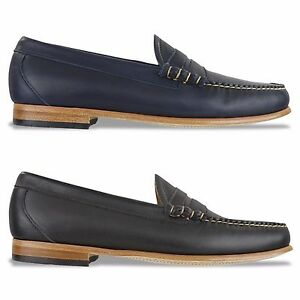 95a190ccc1f G.H BASS WEEJUNS SHOES - PALM SPRINGS LARSON LEATHER LOAFER - NAVY ...