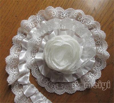 1 yards Pleated Gathered Lace Edge Trim Wedding Bridal Dress Ribbon Sewing Craft