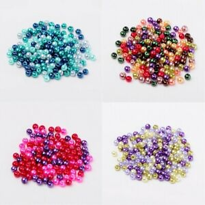 Pearl-Beads-4mm-6mm-8mm-Glass-Mixed-Blue-Red-Green-Pink