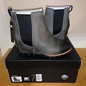 baae068bbb5b Details about Women s Sorel Lea Wedge Boot New Waterproof Grey Black Tan  Ankle Joan Chelsea