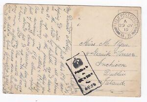 WW1-Inchicore-Dublin-Soldiers-1919-FPO-Q5-Censored-Postcard-Montjoie