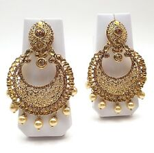 """Indian Asian Bridal Jewellery Bollywood Ethnic Wear Large Earrings Length:3.6"""""""
