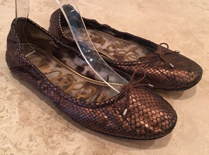 SAM EDELMAN Felicia Bronze Snake Leather Bow Ballet Flats 8.5M Cute