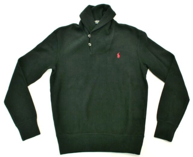 Ralph Lauren Mens Ribbed  Black Shawl Neck Jumper Size XS Extra Small RRP £120.