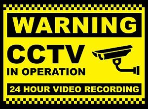 2X CCTV in Operation Sign 24 Hr Recording Security Camera ...