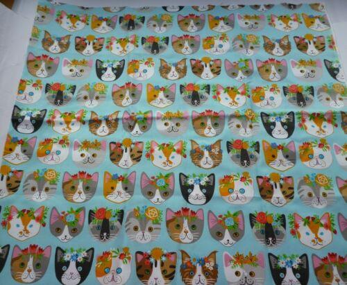 1 St Stoffreste Stoffpaket Baumwolle Katzen Gesicht Gr.50x55cm.