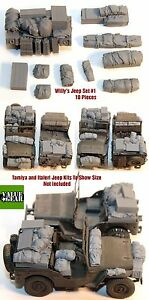 1-35-Scale-resin-kit-Willy-039-s-Jeep-Set-1-10-Pieces-WW2-accessory-stowage-set