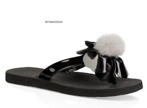 dfe226da7d1 Details about UGG Australia women's Poppy Shearling Pompom Flip Flop Thong  SANDALS BLACK 8 M