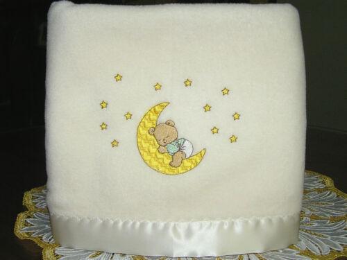 NEW DreamTime Polar Fleece Satin//Trim Baby Blanket