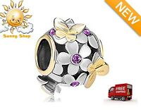 Gold Plated Base Pandora Butterfly Charm Crystal Flower Bead Bracelet Gift