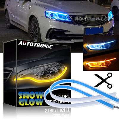2x LED Strip DRL Daytime Running Light Flowing Tube Turn Signal Ice Blue /& Amber