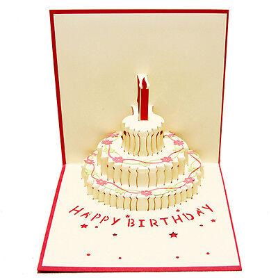 3D Pop Up Cards Birthday Cake Happy Birthday Wholesale Custom Christmas Postcard