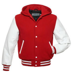 SCARLET-Red-Wool-HOOD-Varsity-Letterman-Bomber-Jacket-White-Pure-Leather-Sleeve