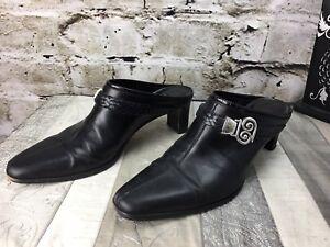 Brighton-Tapa-9N-Narrow-Black-Leather-Mule-Shoes-Pump-Slide-Heel-Silver-Concho