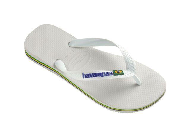 efef8e0fc289 Havaianas Brazil Logo Womens Pink Blue Flip Flops White UK 7 - EU 40 ...