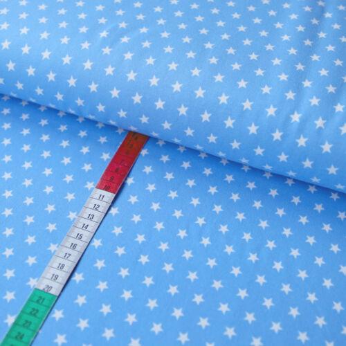 Baumwolljersey Stoff Jersey 10mm STERNE Weiß auf Zartblau Himmelblau