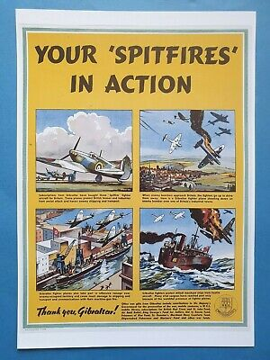 PAIR of Glossy A3 Poster Prints WW2 Aircraft of the RAF Some Famous Types