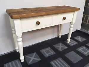 Medium Rustic Solid Wood Console Table With 2 Drawers Can Be Made