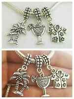 Tropical Coconut Palm Trees Cocktail Charm Pendant F/european Bacelet Necklace