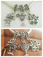 Tropical Coconut Palm Trees Cocktail Charm Pendant F/european Bacelet Necklace