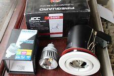 JCC JC94069WH fire rated GU10 tilt downlight white + 7w LED Megaman Bulb 2800k