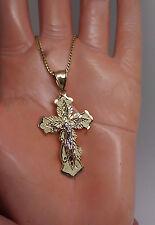 10 K Yellow Gold Diamond Cuts Cross With Jesus 1.8 Inch Long 2.8 Gram