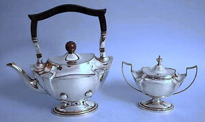 SILBER-JUGENDSTIL-TEE-GARNITUR-SILVER-ART-NOUVEAU-UK-BIRMINGHAM-TEA-SET-UM-1900