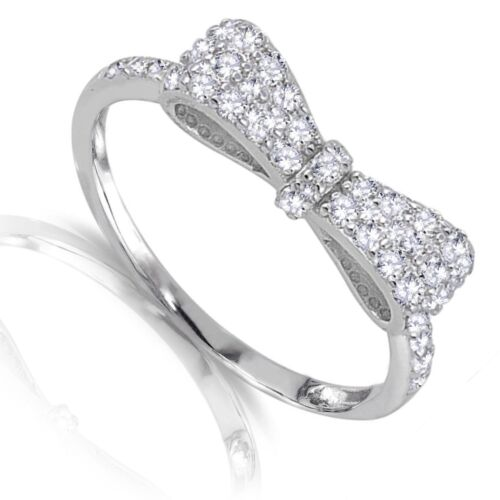 Size 4-12 Formal Bow Tie Ribbon Clear CZ Genuine Sterling Silver Ring
