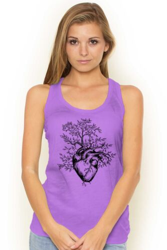 Sprouting Heart Tree Peace Spiritual World Adult Racerback Tank Top T-Shirts