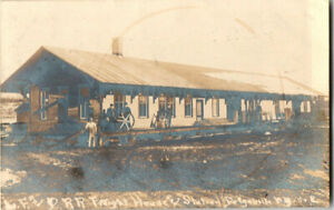 S21-1964-RPPC-Postcard-F-amp-D-Railroad-Freight-House-Station-Dolgeville-NY-1908