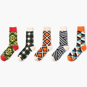 NEW-Men-039-s-cotton-Warm-socks-sport-Plaid-Geometric-Fashion-Multi-color-Long-Socks