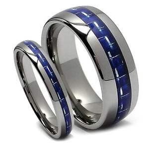 Matching Wedding Band Set Tungsten Rings Blue Carbon Fiber Domed 8MM Amp 5MM NEW