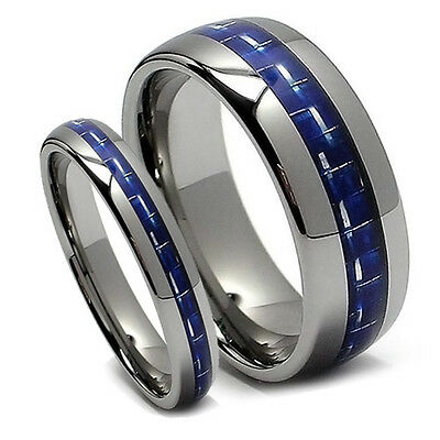 Matching Wedding Band Set Tungsten Rings Blue Carbon Fiber, Domed, 8MM & 5MM-NEW