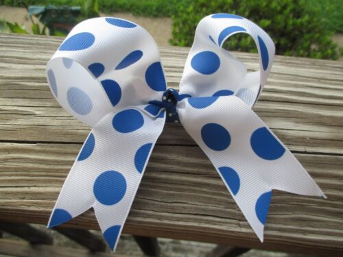 """Details about  /Hair bow Large 5/"""" grosgrain Cheer White with Blue polka dot grosgrain ribbon USA"""