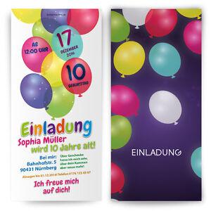 Einladungskarten Zum Kinder Geburtstag Bunte Ballons Einladung
