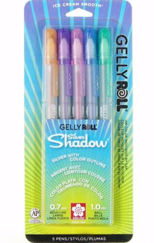 58530 5 Colors Sakura Gelly Roll Silver Shadow Pen Set Outlining Gel Ink