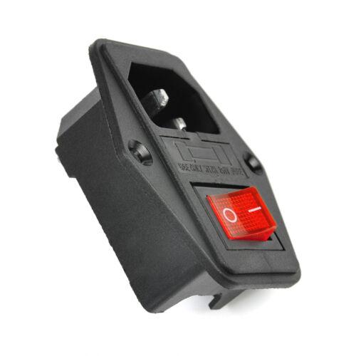 Black 10A 250V 3 Pin IEC320 C14 AC Inlet Male Plug Power Socket W// Fuse Switch
