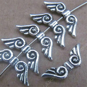 50x-Retro-Tibetan-Silver-Small-Angel-wings-Spacer-Accessories-Wholesale-PL044