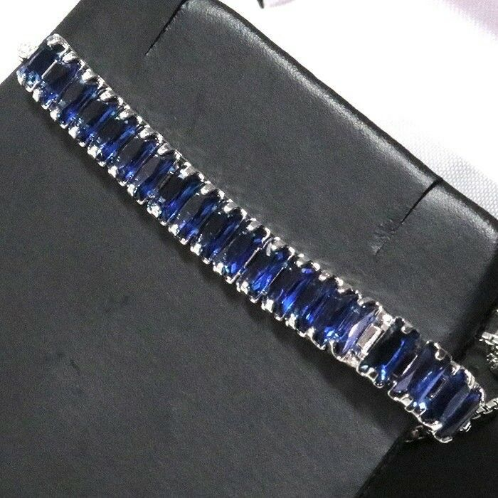 Gorgeous bluee Sapphire Bracelet Women Jewelry Wedding Engagement Gift Free Ship