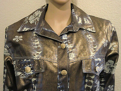 Metallic Gold Jacket Large Cropped Vtg 80's USA Foil Denim Grunge New Old Stock