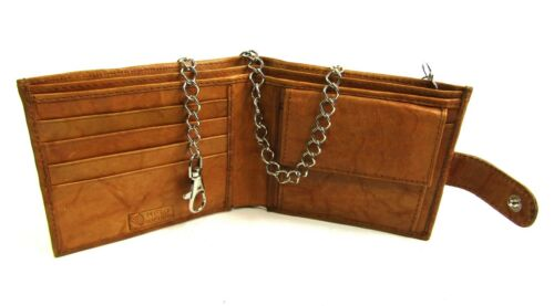 New Real Soft Leather Chain Wallet Coin Pouch Credit Card Holder RFID Protection