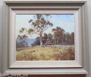 Large-John-Sharman-Original-Oil-on-Board-Landscape-amp-Hut-49-cm-x-38cm