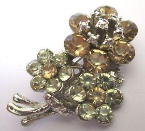 Broche Bijou Vintage Couleur Argent Floral Cristaux Diamants Péridots 423