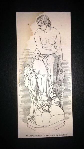 """""""solitudine"""", Unione Artistica Di Londra Incisione Del 1851 Qualità Eccellente"""