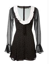 NWT For Love & Lemons Bianca Polka Dot  Mini Dress Size S Noir Dot New!! Soldout