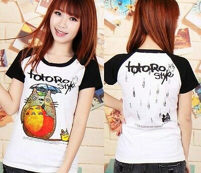 FD4596 TOTORO Cute Japanese Studio Ghibli Women's Girls Cartoon T-shirt Black